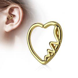Piercing cartilage daith coeur doré heartbeat