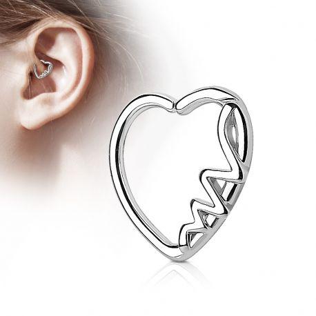 Piercing cartilage daith coeur argenté heartbeat