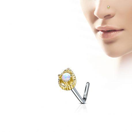 Piercing nez tige en L gemme larme dorée opale blanche