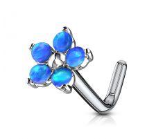 Piercing nez tige en L fleur 5 opales bleues