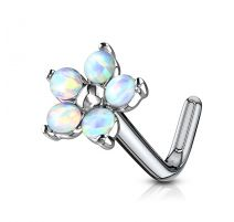 Piercing nez tige en L fleur 5 opales blanches