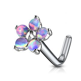 Piercing nez tige en L fleur 5 opales violettes
