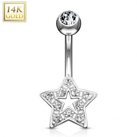 Piercing nombril Or Blanc 14 Carats étoile