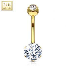 Piercing nombril Or 14 carats serti d'un gemme