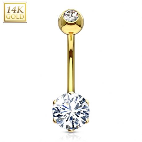 Piercing nombril Or 14 carats serti d'un gemme