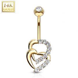 Piercing nombril Or jaune 14 carats coeurs entrelacés