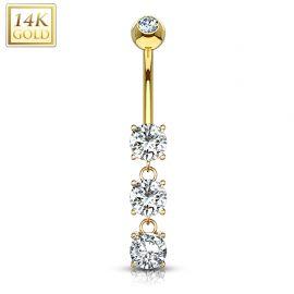 Piercing nombril Or 14 carats 3 pierres
