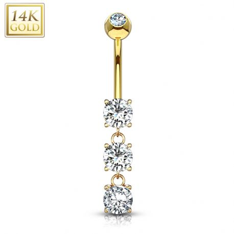 Piercing nombril Or 14 carats 3 pierres roses