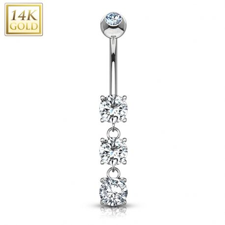Piercing nombril Or blanc 14 carats 3 pierres