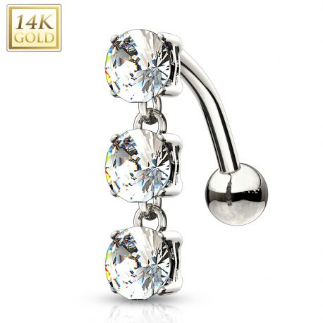 Piercing nombril inversé Or blanc 14 carats gemmes