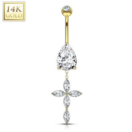 Piercing nombril Or 14 carats croix