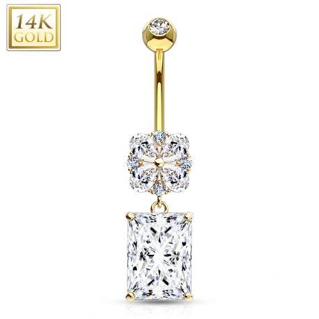 Piercing nombril Or 14 carats gemme rectangulaire