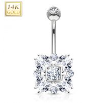 Piercing nombril Or blanc 14 carats marquise