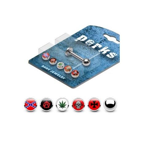 Pack Piercing Labret Acier Chirurgical Logos - Bijou Piercing Labret