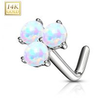 Piercing nez Or blanc 14 carats trois opales blanches