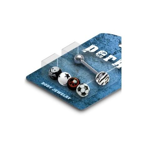 Pack Piercing Langue Boule Acrylique Logos - Bijou Piercing Langue