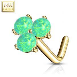 Piercing nez Or jaune 14 carats trois opales vertes