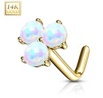 Piercing nez Or jaune 14 carats trois opales blanches