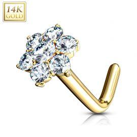 Piercing nez Or jaune 14 carats fleur 7 gemmes