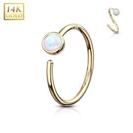 Piercing nez Anneau Or jaune 14 Carats opale blanche