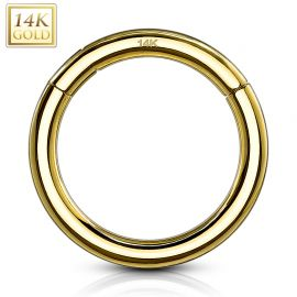 Piercing anneau segment clips en or jaune 14 carats