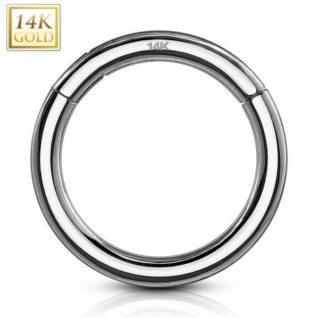 Piercing anneau segment clips en or blanc 14 carats