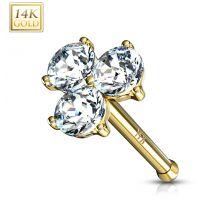 Piercing nez Or jaune 14 carats trois gemmes blancs