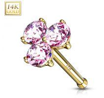 Piercing nez Or jaune 14 carats trois gemmes roses