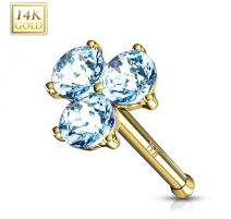 Piercing nez Or jaune 14 carats trois gemmes turquoises