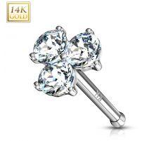 Piercing nez Or blanc 14 carats trois gemmes blancs