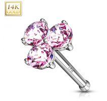 Piercing nez Or blanc 14 carats trois gemmes roses