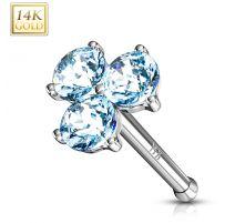 Piercing nez Or blanc 14 carats trois gemmes turquoises
