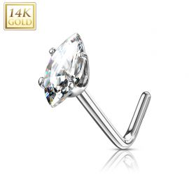 Piercing nez Or blanc 14 carats pierre marquise blanche