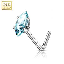 Piercing nez Or blanc 14 carats pierre marquise turquoise