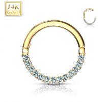 Piercing anneau en or jaune 14 carats pavé de gemmes