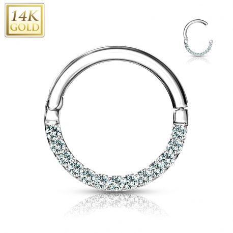 Piercing anneau en or blanc 14 carats pavé de gemmes