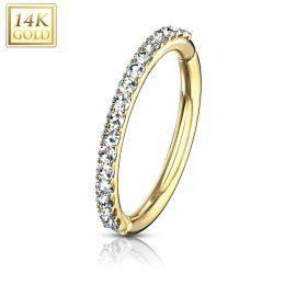 Piercing anneau oreille en or jaune 14 carats pavé de gemmes