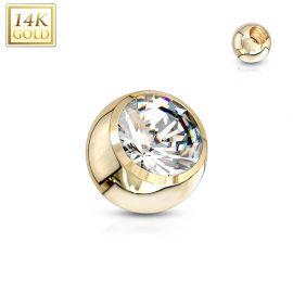 Boule à strass pour piercing en or jaune 14 carats