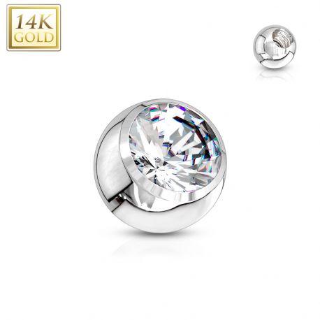 Boule à strass pour piercing en or blanc 14 carats