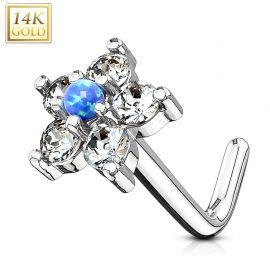 Piercing nez Or blanc 14 carats tige L fleur et opale bleu