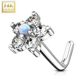 Piercing nez Or blanc 14 carats tige L fleur et opale blanche