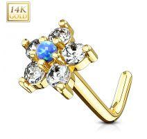 Piercing nez Or jaune 14 carats tige L fleur et opale bleu