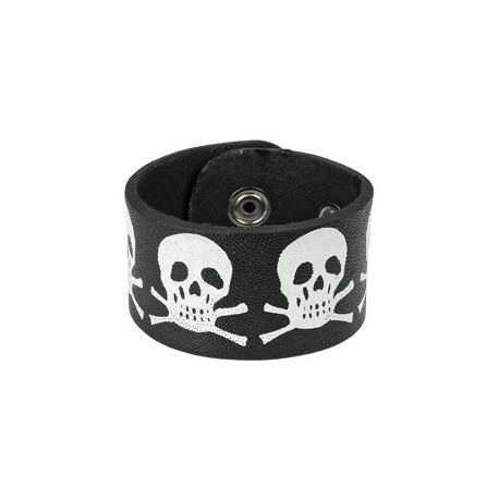 Bracelet en Cuir noir Têtes de mort
