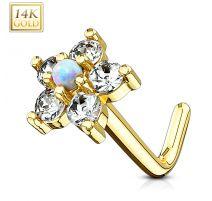 Piercing nez Or jaune 14 carats tige L fleur et opale blanc