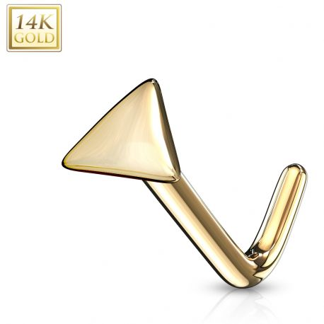 Piercing nez Or jaune 14 carats tige L triangle