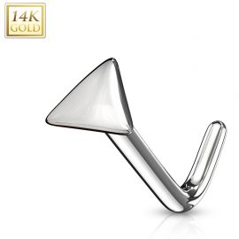 Piercing nez Or blanc 14 carats tige L triangle