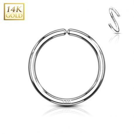 Piercing anneau pliable en or blanc 14 carats pour nez oreille