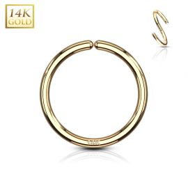 Piercing anneau pliable en or jaune 14 carats pour nez oreille