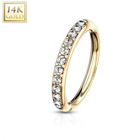 Piercing anneau pliable en or jaune 14 carats pour nez oreille avec gemmes