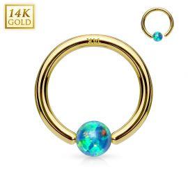 Piercing anneau captif en or jaune 14 carats pour nez oreille opale verte